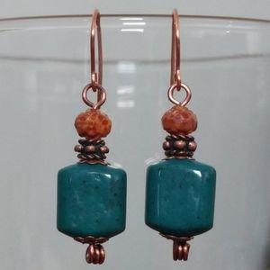 Handmade Vintage Teal Glass Cube Copper Earrings